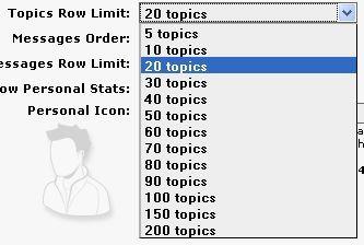 Количество тем на странице