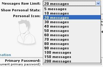 Количество сообщений на странице