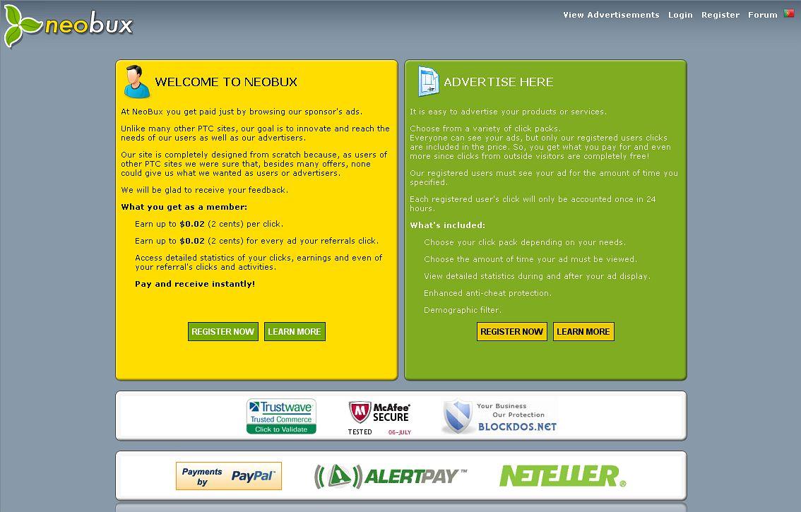 Начальная страница сайта NeoBux